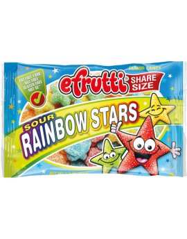 Efrutti Share Size Sour Rainbow Stars Gummi Candy 1.8oz bag 12ct