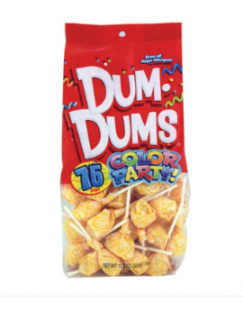Dum Dums Lollipops Color Party Yellow Cream Soda Flavor 12.8 oz.Bag 4ct