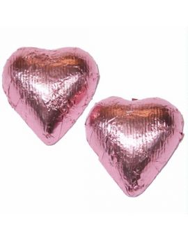 Niagara Foiled Solid Dark Chocolate Light Pink Hearts 10 lbs