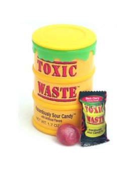 Toxic Waste Super Sour Candy 1.7oz Yellow Drums  12ct