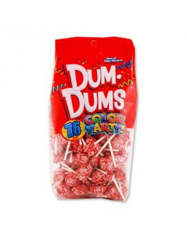 Dum Dums Lollipops Color Party Red Strawberry Flavor 12.8 oz Bag 4ct