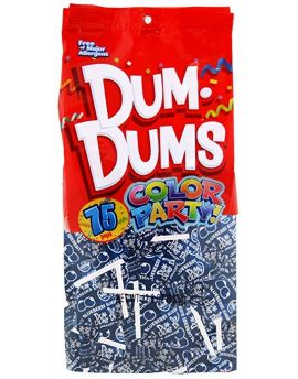Dum Dums Lollipops Color Party Blue Blueberry Flavor 12.8 oz.Bag 4ct